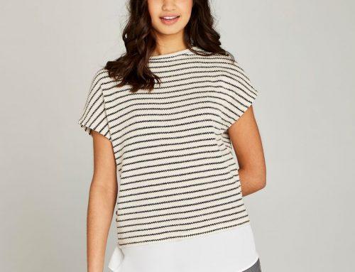 Cream Stripe Knit Chiffon Underlay Top