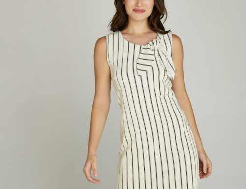 Cream Vertical Stripe Bow Tie Neck Dress