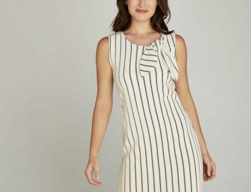 Cream Vertical Stripe Bow Tie Neck Dress